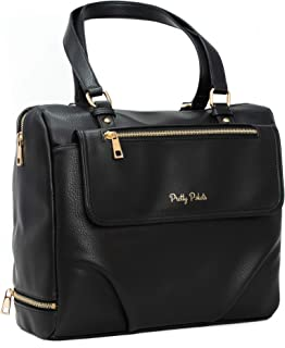 Bag for Diapers by Pretty Pokets, A Baby Bag with Changing pad, Insulated Bottle Holder and a Mom Purse, Black