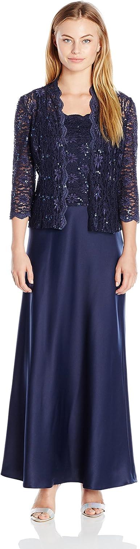 Alex Evenings Womens Two Piece Dress with Lace Jacket Petite Dress