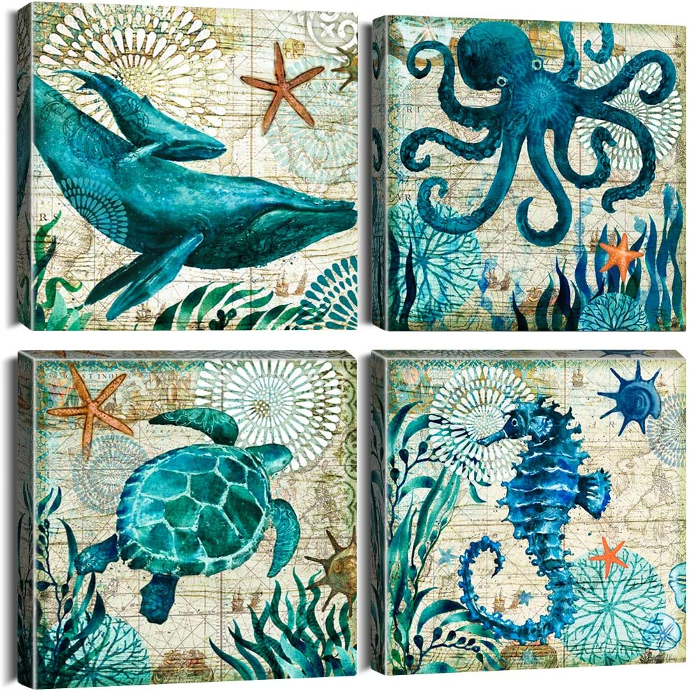OTOSTAR 4 Pieces Canvas Prints Wall Art - Blue Ocean Creature Whale Octopus Sea Turtle Seahorse Picture Painting- Modern Wall Artwork Framed for Bathroom Home Office Decor - 12 x 12 Inch
