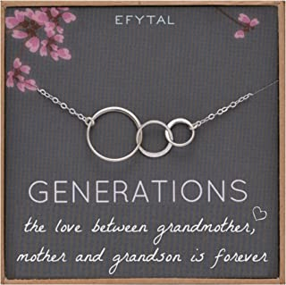 EFYTAL Generations Necklace for Grandma Sterling Silver 3 Interlocking Circles for Mom from Grandson Mothers Day Jewelry Birthday Gift