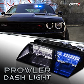 Prowler Emergency Dash Light - True Daytime Visible LED 18 Strobe Patterns for Law Enforcement, Warning, First Response, Fire, Security, and Traffic Control POV Vehicles - 2 Yr Warranty [Blue/White]