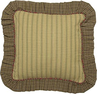 VHC Brands Rustic Tea Cabin Cotton Plaid Square Cover Pillow Insert Bedding Accessory, Fabric 16x16, Green