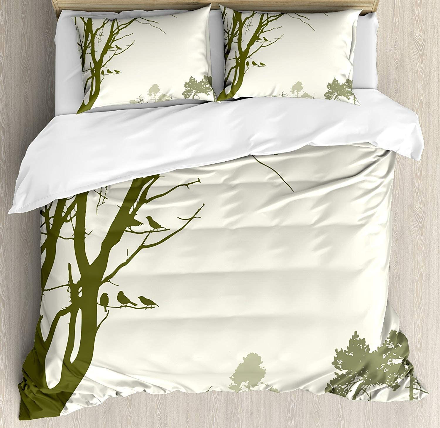 Forest Bedding Sets Nature Theme The Panorama Of A Forest Pattern Birds On Tree Branches Print 4 Piece Duvet Cover Set Quilt Bedspread For Childrens Kids Teens Adults Olive Green Cream Twin Size Home