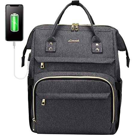 LOVEVOOK Zaino Donna Porta PC Portatile 15.6 Pollici, Impermeabile Zaino Laptop, Elegante Zaino per Computer con Caricatore USB, Zaino Universita Viaggi Lavoro Scuola Ufficio, Grigio