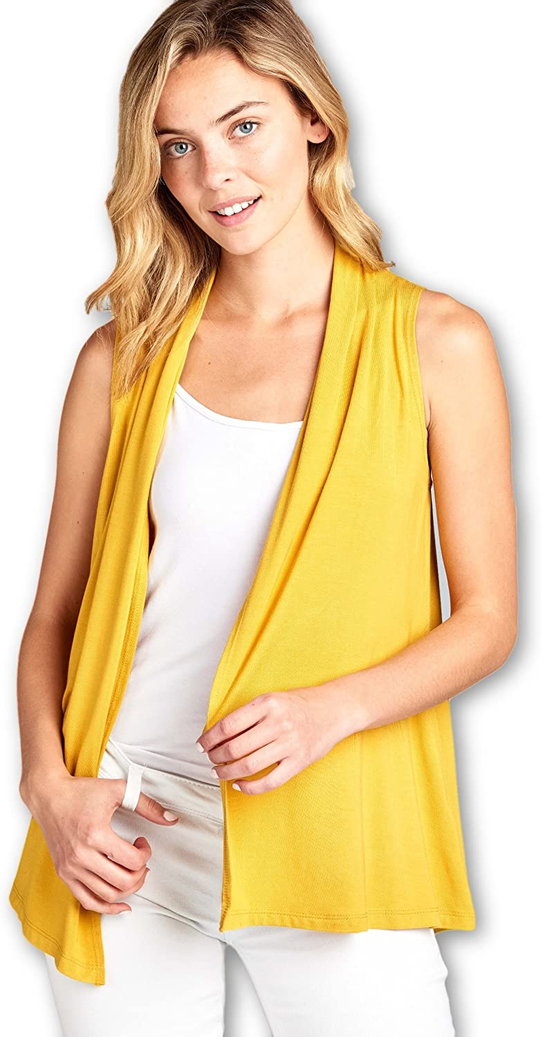 Women's Sleeveless Extra Soft Bamboo Layering Casual Cardigan Vest - Made in USA