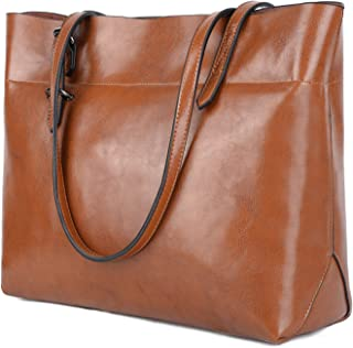 YALUXE Women's Soft Leather Work Tote Shoulder Bag with Wallet (Upgraded 2.0) Brown
