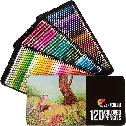 120 Crayons de Couleurs, Numérotés, avec Boîte Métal Zenacolor - Set de 120 Couleurs Uniques et Différentes - Rangement Facile avec 3 Etuis (120 Metal)