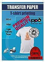 "PPD Inkjet Premium Iron-On Light T Shirt Transfer Paper LTR 8.5x11"" Pack of 100 Sheets (PPD001-100)"