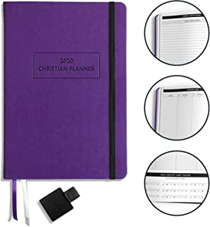 """$39 » Christian Planner 2020 Planner, Bible Journal, and Gratitude Journal   7""""x10"""" Lay Flat Hardcover Vegan Leather Journal with Thick No-Bleed Paper   Month, Week & Daily Organizer (Lady Lilac)"""