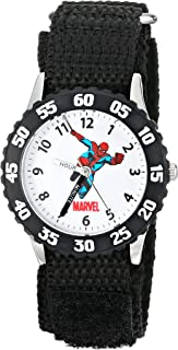 Marvel Kids' W000106 Time Teacher Stainless Steel Watch with Black Nylon Band