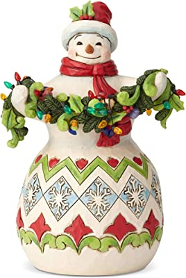 """Enesco Jim Shore Heartwood Creek Snowman with String of Lights, 8.5"""", Multicolor"""