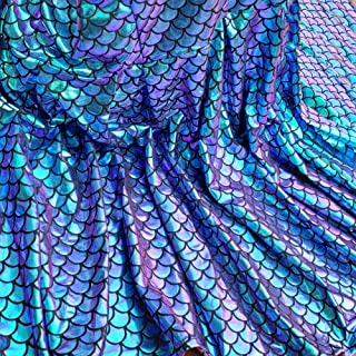 Iridescent Mermaid Scales Hologram Fish Scale 4 Way Stretch Spandex Green 58