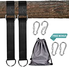 I-pure items Hammock Straps (5ft) - 2 PCS Tree Swing Straps Hanging Kit Holds 2200 LB with 4 Heavy Duty Carabiners - Camping Hammock Rope Straps Accessories - Compact & Easy to Set Up