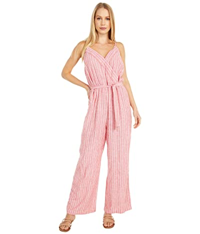 Vince Camuto Sleeveless Tranquil Stripe Wrap Front Jumpsuit (Bright Ladybug) Women