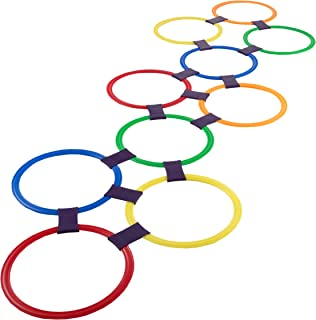 Hey! Play! Hopscotch Ring Game-10 Multi-Colored Plastic Rings and 15 Connectors for Indoor or Outdoor Use-Fun Creative Pla...