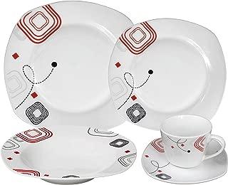 Lorren Home Trends LH413 20 Piece Square Dinnerware Set Service for 4, Geometric
