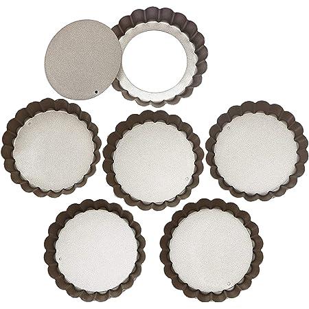 Webake 4 Inch Mini Tart Pan Set of 6, Non-Stick Quiche Pan Removable Bottom Mini Tart Tins