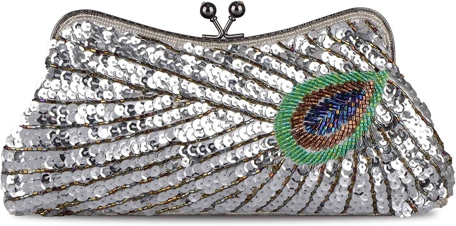 Women's Vintage Beaded Sequin Peacock Purse Evening Bags and Clutches(Silver)