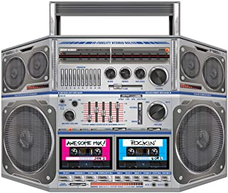 """Beistle 1980's Boom Box Stand Up Photo Prop 80's Tema Retro Hip Hop Decoraciones y Suministros para fiestas, 37"""" x 25"""", Mu..."""