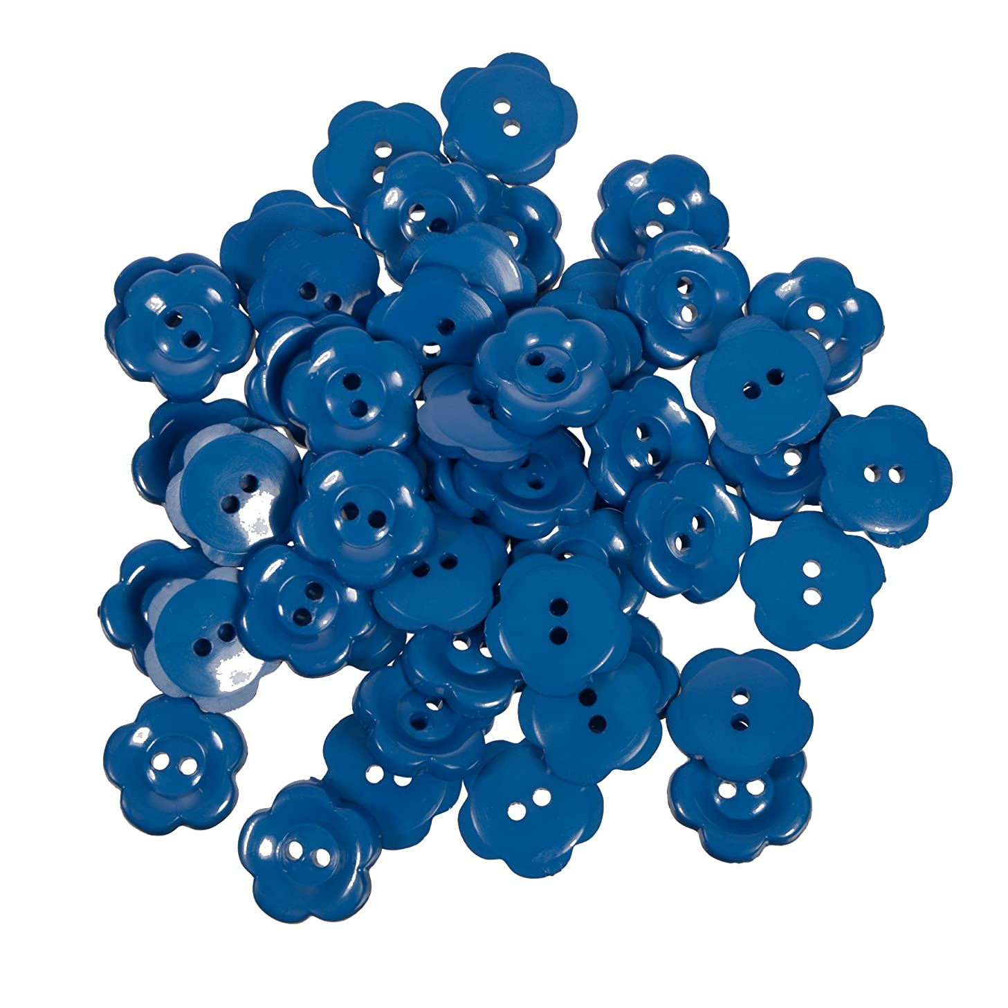 Nylon Daisy Shape Buttons - 2 Hole - Blue