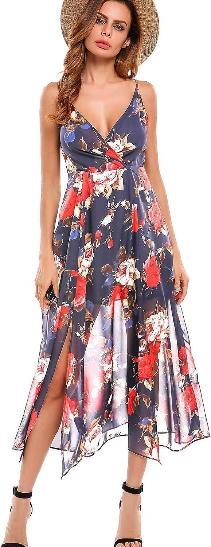 BEAUTEINE Bohemian Floral Dress Deep Vintage V Neck Assymetrical Hem Long Dress