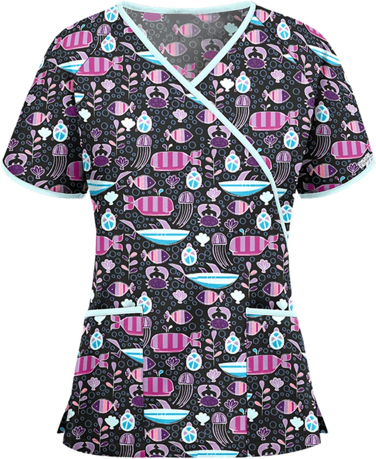 KKYU Women Summer Mock Wrap Tops Working Uniform T-Shirt Easter Print Short Sleeve V-Neck Blouse Workwear with 2 Pockets