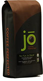 NO FUN JO DECAF: 12 oz, Organic Decaf Ground Coffee, Swiss Water Process, Fair Trade Certified, Medium Dark Roast, 100% Arabica Coffee, USDA Certified Organic, NON-GMO, Chemical Free Gluten Free Decaf