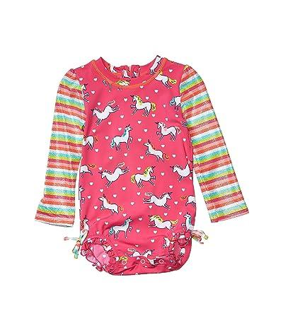 Hatley Kids Prancing Unicorns Rashguard Swimsuit (Infant) (Pink) Girl