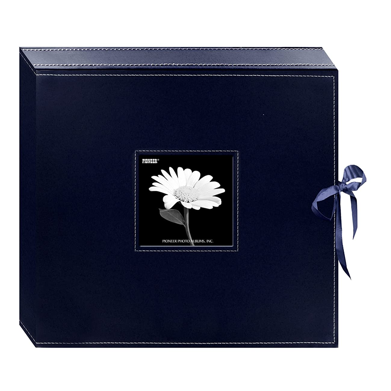 Pioneer 12 Inch by 12 Inch 3-Ring Leatherette Inset Frame and Ribbon Closure Memory Book Box, Navy Blue