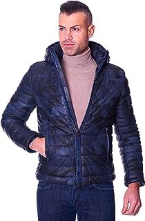 D'Arienzo Piumino in Pelle Blu Militare Uomo con Cappuccio Giaccone Invernale Cappotto Vera Pelle Made in Italy TEO