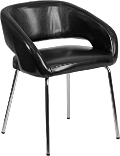 Flash Furniture Fusion Series Contemporary Black Leather Side Reception Chair