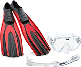 Mares Italian Designed Premium Scuba Diving Avanti Superchannel Full Foot Fins, with Single Lens Tempered Glass Frameless Dive Mask Dry Snorkel Set