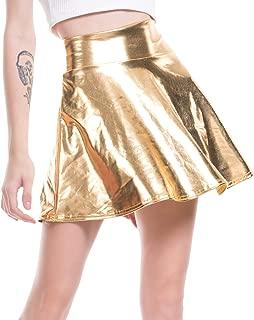Jollymoda Women's Casual Fashion Shiny Metallic Flared Pleated A-Line Mini Skirt for Women Nightout Wear