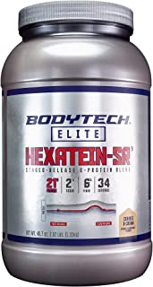 BodyTech Hexatein SR™ (Staged Release) 6 Protein Blend for Muscle Growth Recovery + EFA's, MCT's CLA, Cookies Cream (2.92 ...