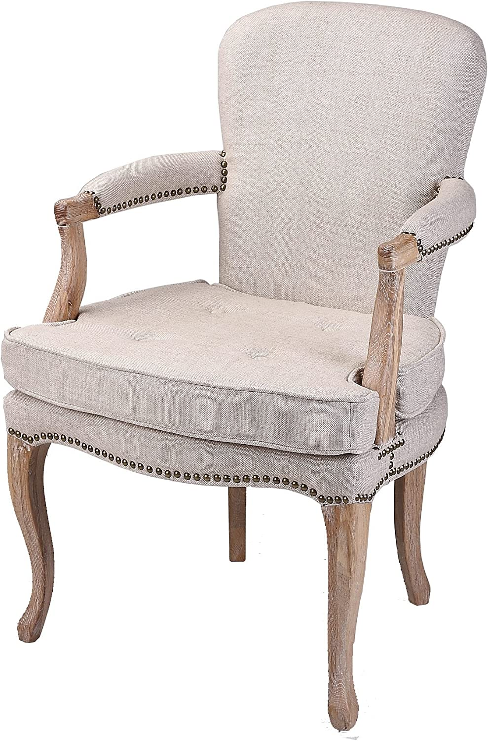 Armchair with Bronze Studs 100% Natural Linen Fabric Solid Oak Timber Frame Cushioned arms