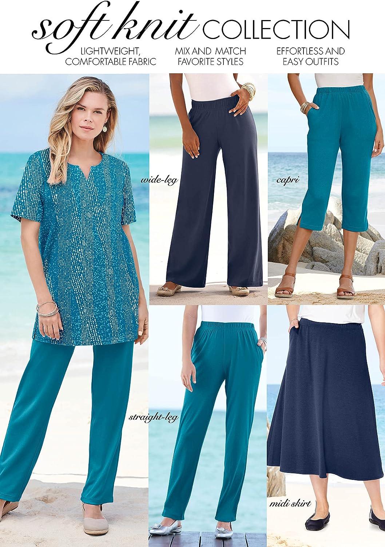 Roamans Women's Plus Size Straight-Leg Soft Knit Pant Pull On Elastic Waist