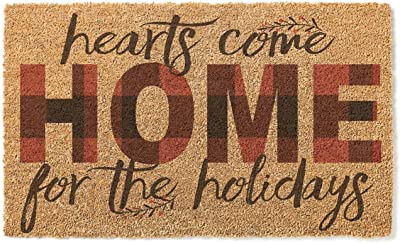 """Kindred Hearts 18""""x30"""" Hearts Come Home Coir Doormat, Multi"""