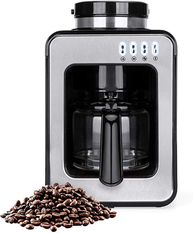 Best Choice Products 600W 4 Cup Automatic Coffee Maker W Built In Grinder Auto Drip Warm Plate Scoop Brush