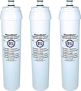 KleenWater Brand Filters and Membrane, Compatible with Puronics/Ionics Micro Max 6000 Reverse Osmosis System, Set of 3