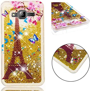 Glitter Case for Samsung Galaxy J3 2016,QFFUN Bling Floating Liquid Quicksand Soft Clear Slim Fit Silicone Case with Screen Protector Shockproof Transparent Protective Cover Bumper - Butterfly Tower
