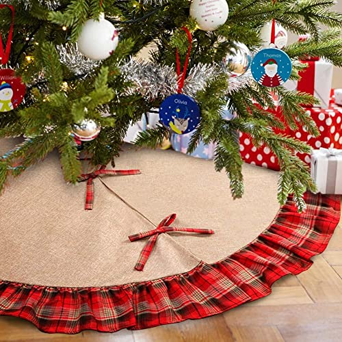 OurWarm Linen Burlap Christmas Tree Skirt Red Black Plaid Ruffle Edge Border Large 48 inches Round Indoor Outdoor Mat...