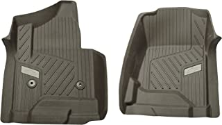 GM 84073613 Premium Front All-Weather Floor Liners in Cocoa with Bowtie Logo, for Crew and Double Cab Vehicles Without Manual 4x4 Shifter