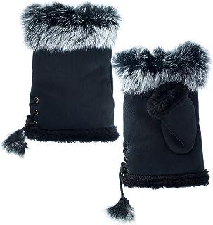 AnnaKastle Womens Winter Warm Rabbit Fur Hands Wrist Fingerless Gloves Fashion Mitten