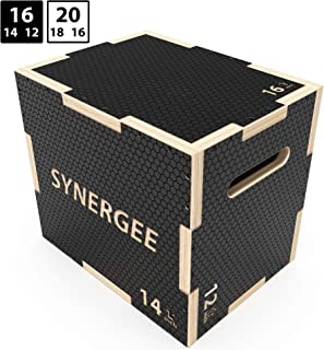 Synergee 3 in 1 Non-Slip Plyometric Box for Jump Training and Conditioning. Wooden Plyo and Soft Plyo Box All in One Jump Trainer. Sizes 20/18/16,  16/14/12