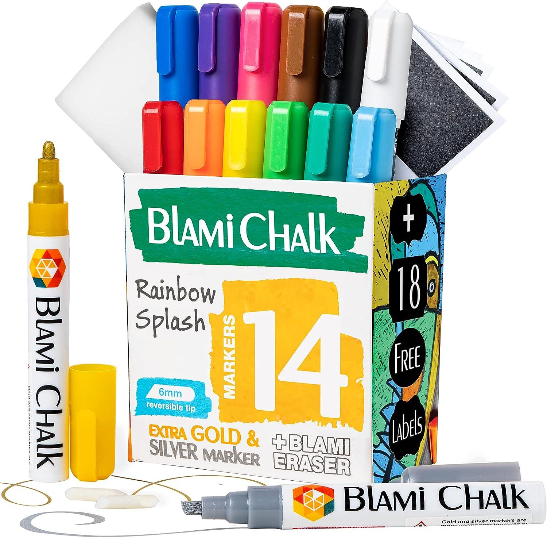 Blami Arts Liquid Chalk Markers Regular dealer and -14 Chalkboard Labels E Pack High order
