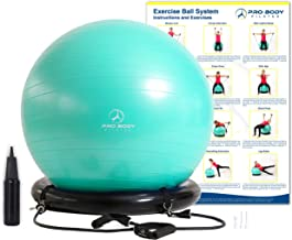 ProBody Pilates Exercise Ball Chair System - Yoga and Pilates 65 cm Ball with Stability Base and Workout Resistance Bands ...