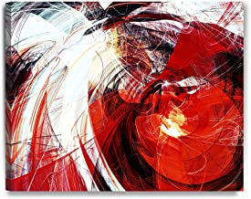 DECORARTS - Abstract Art(red and White Motion Composition), Giclee Prints Abstract Modern Canvas Wall Art for Wall Decor. 30x24 x1.5