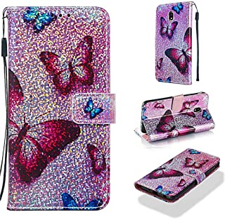 Case for Galaxy J7 2018,Durable PU Leather Magnetic Durable Wallet Case Kickstand Folding Sparkly Glitter Case with Card Holder Magnetic Closure Compatible with Samsung Galaxy J7 2018 -Butterfly