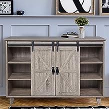 GOOD & GRACIOUS Sideboard, Modern Mid Century Industrial Sideboard for Livingroom, Home Office 3-Tier Sliding Barn Door Ki...