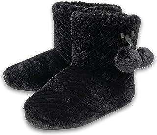 Dunlop Ladies Womens Slippers Full Bootie Boots Faux Fur Memory Foam Sizes 3-8